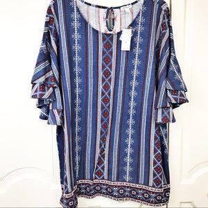 Dress barn women's 3X tribal ruffle sleeve top
